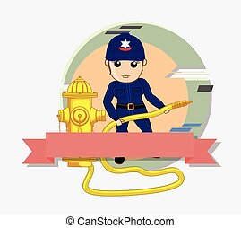 Female Firefighter with Fire Hose Vector Illustration