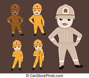Cartoon Serviceman Characters Vector Illustration