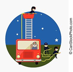 Fire-Brigade Team Vector Illustration