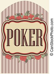 Vintage poker casino background, vector illustration