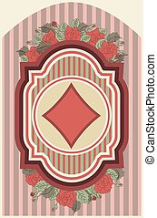 Vintage poker diamonds card, vector illustration