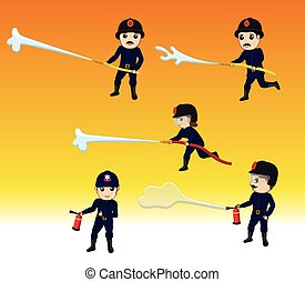 Firefighters with Fire-Hose Vector - Firefighter Characters...