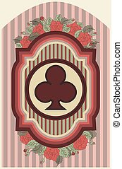 Vintage poker clubs card, vector
