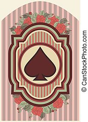 Vintage poker spades card, vector