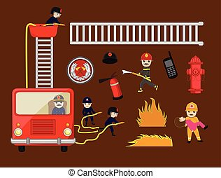 Fire-Brigade Vector Equipments and Icons