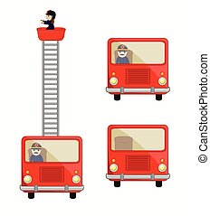 Fire-Brigade Trucks Vector Illustration