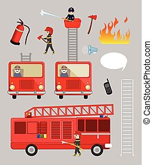 Fire-Brigade Team and Vehicles Illustrations and Icons