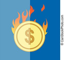 Flammable Gold USD Coin Vector Illustration