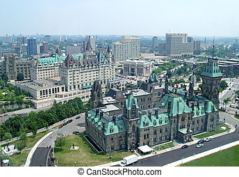 government buildings in Ottawa, Canada - Aerial View of...