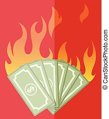 Burning Dollars Vector