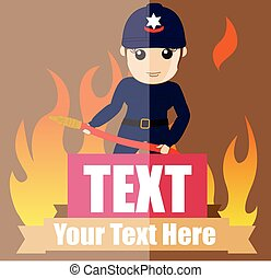 Female Firefighter with Fire-Hose Vector Illustration