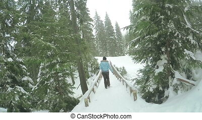 Wooden bridge with girl - Wooden bridge in mountains in ski...
