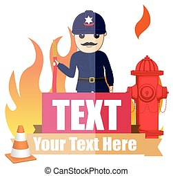 Firefighter with Fire Hose Vector Illustration