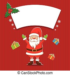 Illustration winter label with Santa Claus. Vector