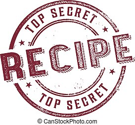 Top Secret Recipe Menu Stamp - Vintage style rubber stamp...