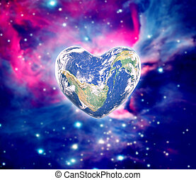 The earth in the shape of a heart, elements of this image...