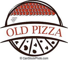 Illustration of old label pizza,with shingles .Vector