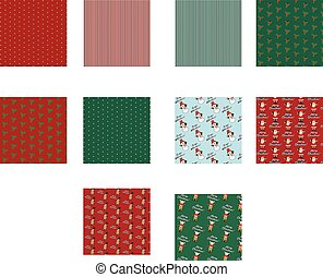 Set of Christmas seamless pattern. vector