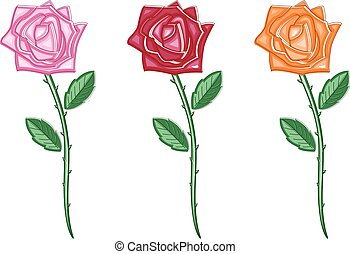 Illustration set of beautiful colour flowers. Vector