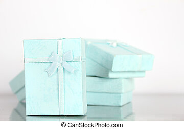 Gift boxes style Tiffany - Close-up of a lot of small gift...