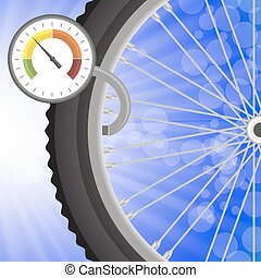Manometer and Part of Bicycle Wheel on Bllurred Bllue Rays...