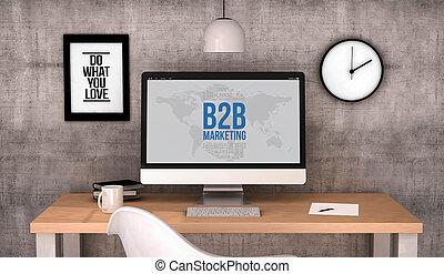 workspace computer b2b - digital generated workspace desktop...