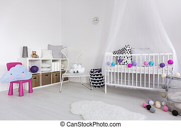 Cosy bedroom for a little princess - Shot of a spacious...