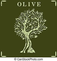Illustration of olive tree. Vector