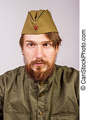 Portrait of  man in Soviet military uniform