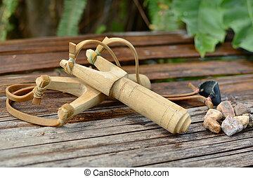 Wooden catapult slingshot