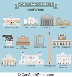 World Famous Place Italy Rome Geometric icons of buildings...