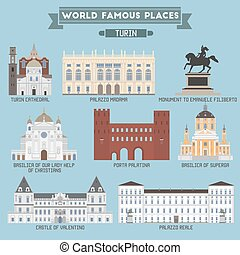 World Famous Place. Italy. Turin. Geometric icons of buildings