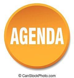 agenda orange round flat isolated push button