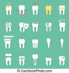 vector dentist set , teeth icons - tooth disease, vector...