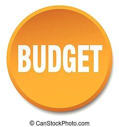 budget orange round flat isolated push button