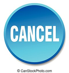 cancel blue round flat isolated push button