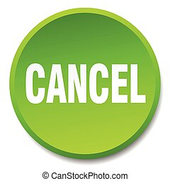 cancel green round flat isolated push button