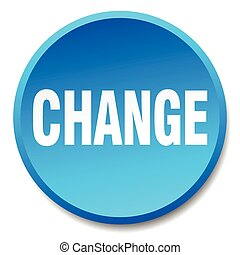change blue round flat isolated push button