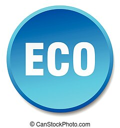 eco blue round flat isolated push button