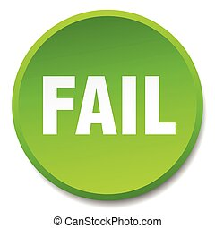 fail green round flat isolated push button