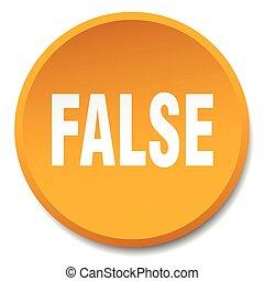 false orange round flat isolated push button