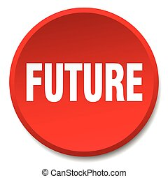 future red round flat isolated push button