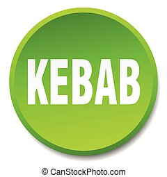 kebab green round flat isolated push button