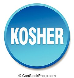kosher blue round flat isolated push button