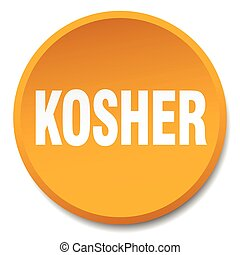 kosher orange round flat isolated push button