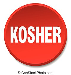 kosher red round flat isolated push button