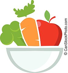 Illustration of bowl with fruits and vegetables. Vector