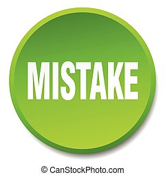 mistake green round flat isolated push button