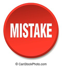 mistake red round flat isolated push button