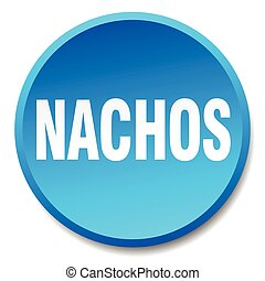 nachos blue round flat isolated push button
